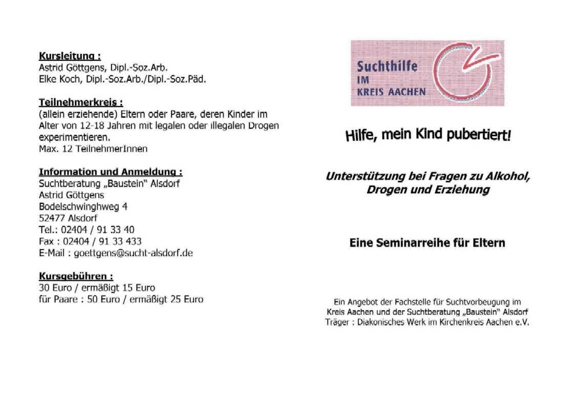 Suchtberatung – Gustav-Heinemann-Gesamtschule Alsdorf